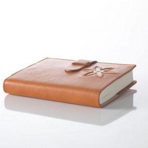italian handmade leather diares orange light