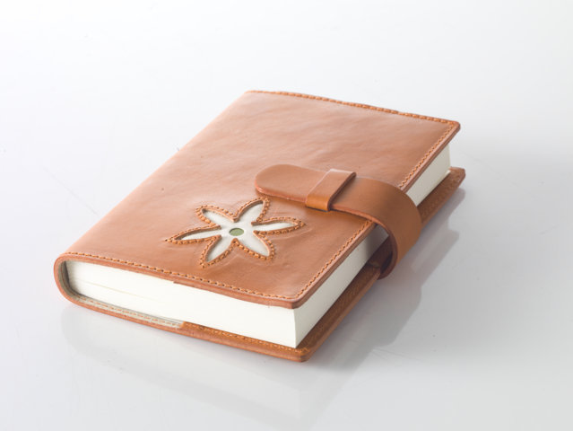 orange light Leather diary with floral motifs
