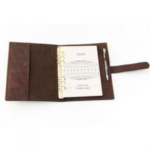 Brown leather organizer , made in italy