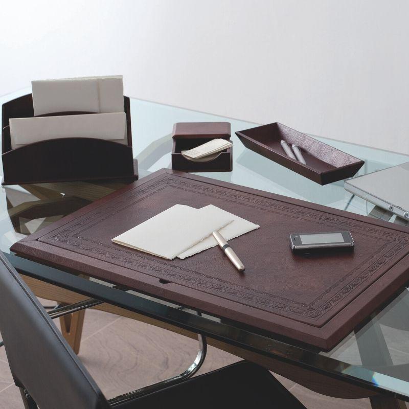 set per scrivania in pelle