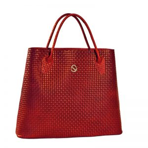 red braided leather bag