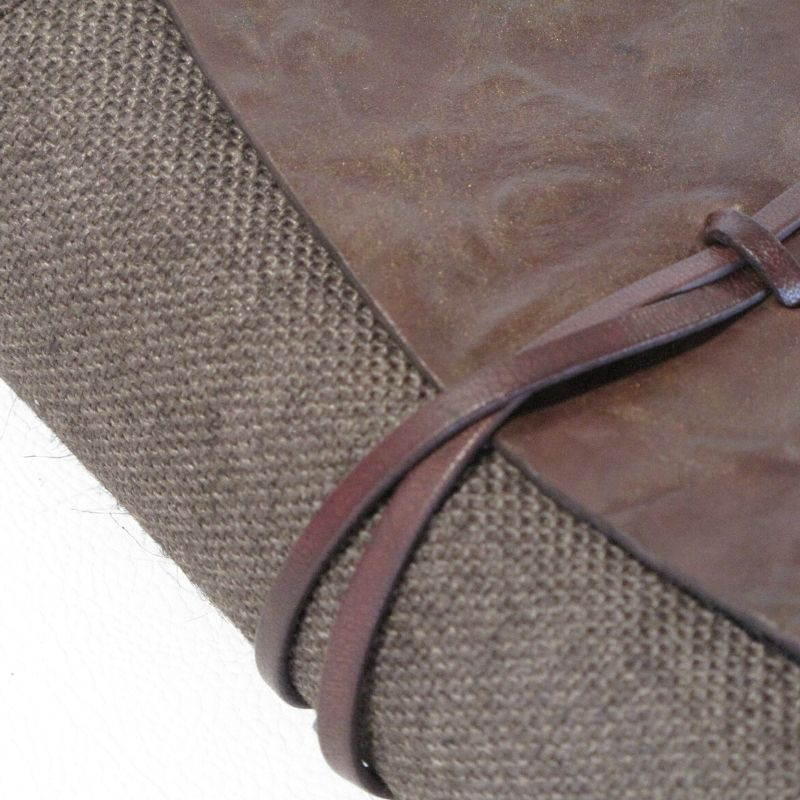 detail of jute and leather bible holder