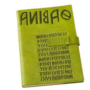 green leather diary iku
