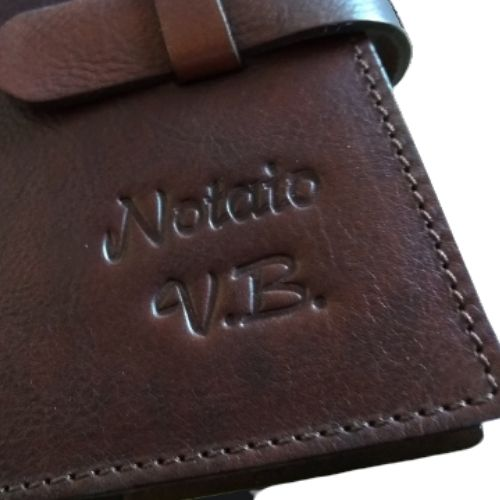 detail of personalized leather bag