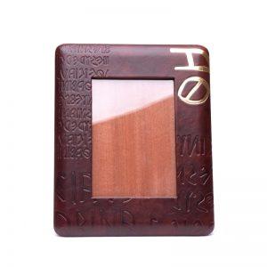leather photo frame iku gold